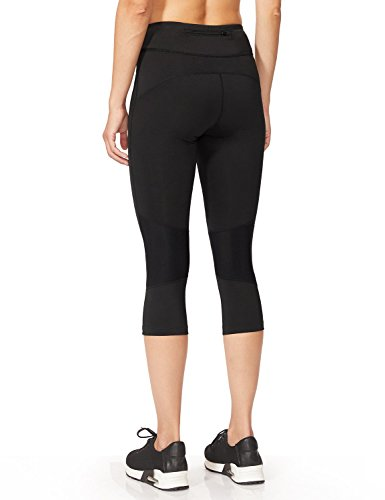 BALEAF Women's Workout Compression Tights 3/4 Capri Mesh Insert Leggings Cycling Running Black Size M