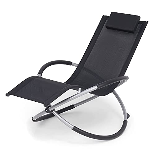 SA Products Zero Gravity Moon Rocker Sun Lounger - Foldable Outdoor Garden Patio Furniture Rocking Chair with Headrest Pillow - Heavy Duty Steel Frame with Sun-Safe Breathable Textoline Fabric