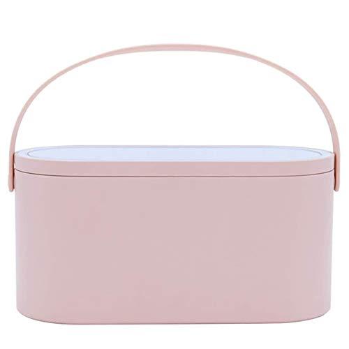 Unique WElinks Estuche de maquillaje portátil de viaje organizador de cosméticos caja de almacenamiento con espejo iluminado LED, estuche de viaje profesional para aparador (rosa)