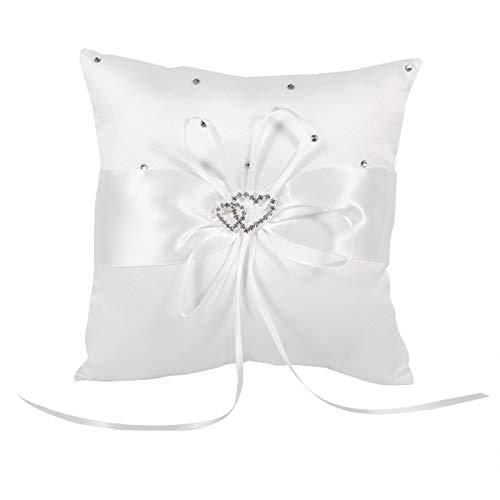 Anillo de bodas - Cojín de almohada con soporte para portador de anillo de bodas de 4 colores con diamantes de corazones dobles con manchas de Bowknot(blanco)