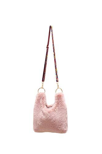 Ulisty Damen Herbst Winter Kunstpelz Schultertasche Plüsch Handtasche Flauschige Umhängetasche Rosa
