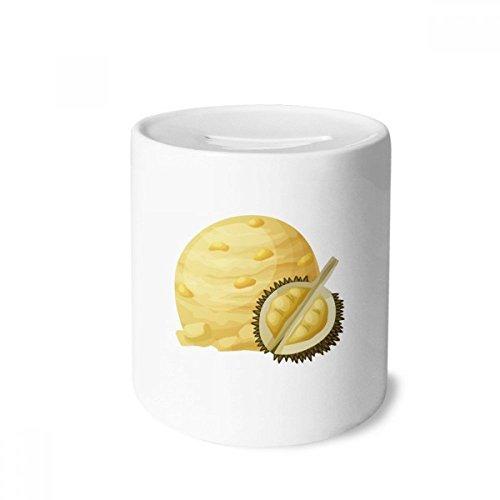 DIYthinker Gelb Durian Ice Cream Kugel EIS am Stiel-Geld-Kasten Sparkassen Keramik Münzfach 3.5 Zoll in Height, 3.1 Zoll in Duruchmesser Mehrfarbig