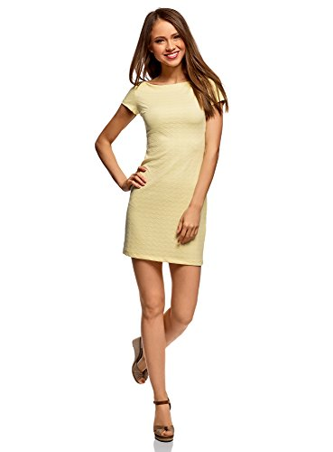 oodji Ultra Mujer Vestido de Tejido Texturizado con Escote Barco
