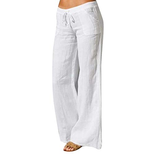 Frolada Pantalon de yoga pour femme - Avec poche - En coton et lin - Couleur unie - Poches - Cordon de serrage - Élastique - Jambe large - Long M blanc