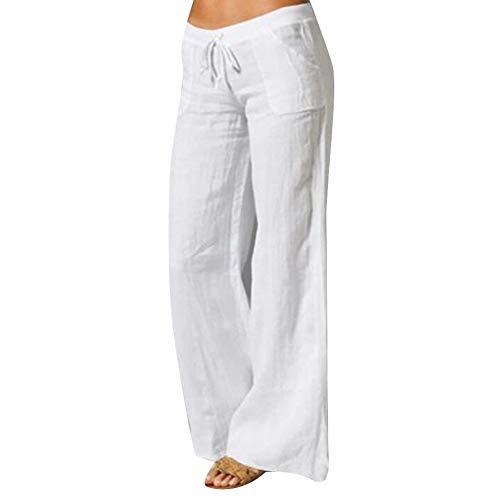 Frolada - Pantaloni da yoga da donna, pantaloni da yoga, a vita alta, in cotone e lino, con tasche a...