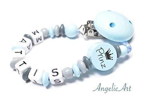 Schnullerkette mit Namen - Junge -PRINZ - Krone - Blau | Grau