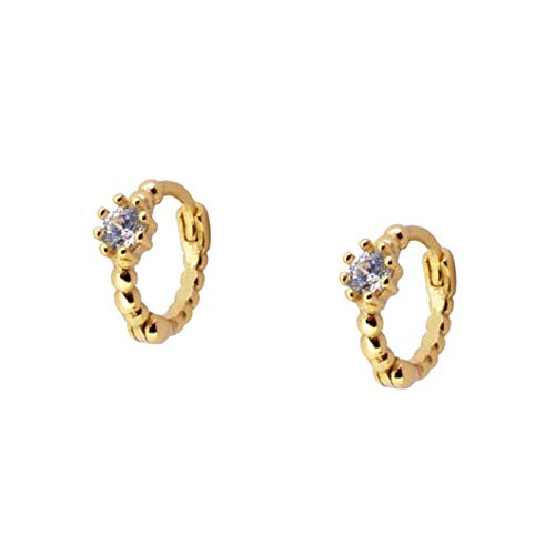 Pendientes Mujer Crystal Hoop Earrings 925 Sterling Silver Circle Earrings Women Gold Color Earings Jewelry Gift -Gold_White