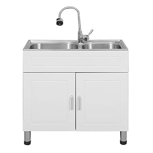 """Combo White Cabinet Vessel Sink Stainless Steel Vanity Sink Bathroom Wash Basin Freestanding Tub Utility Sink All-in-One Kit with Hot and Cold Faucet, Size 29.5"""" x 15.7"""" x 30.7"""""""