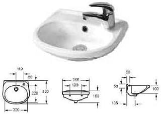 piccolo piazza ovale bianco Lavabo da appoggio in ceramica 40x23x8