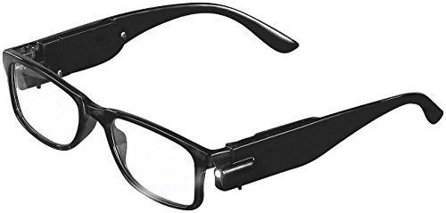 PEARL Brille ohne Stärke: Modische Brille mit integriertem LED-Leselicht, ohne Sehstärke (Brille mit Licht ohne Stärke)
