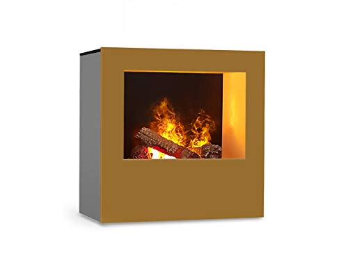 Magma infraroodhaard (goud/grijs), verwarmbare elektrische kachel met Optimyst vlamsimulatie