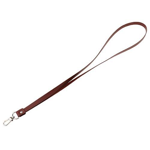 PU-Leder Schlüsselband Lanyards mit Karabinerhaken und Schnalle zum Umhängen für Ausweise Autoschlüssel Zugangskarten - Rötlich-braun