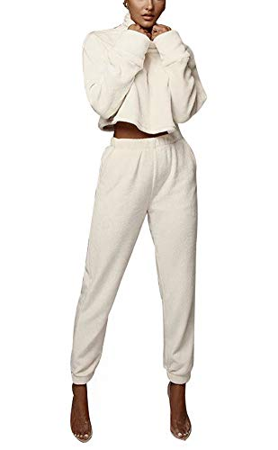 Women Casual 2 Piece Outfits Long Sleeve High Neck Solid Pullover Sherpa Fleece Sweatshirt Crop Top with Bodycon Long Pants Set Joggers Sport Suits Sweatsuit Tracksuit Clubwear White, X-Large