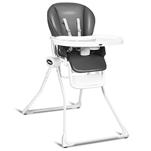 INFANS Simple Fold Baby High Chair, Space Saving with Multiple-Adjustable Backrest, Footrest & Double Detachable Trays, RemovablePU Cushion, Front Wheels, Highchair for Infants and Toddlers, Gray