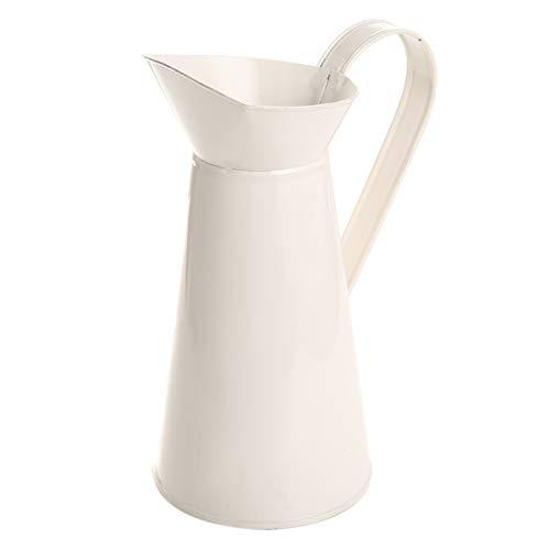 Metall Shabby Chic Creme Vase Vintage Metal Chic Vase Hochzeit Vase Geschenk Weiß Krug mit Dekoration für Zuhause grau