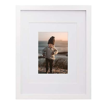 KINLINK 11x14 Picture Frame White, Wood Frames with HD Plexiglass for Picture 5x7/8x10 with Mat or 11x14 without Mat, Tabletop and Wall Mounting Display