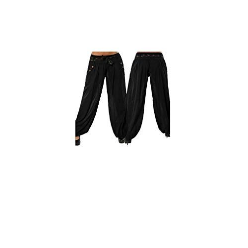 Dorical Damen Hosen, Plus Size Boho Niedrige Elastische Taille Breites Bein Entspannt Fit Solide Lässige Yoga Capris Hose Hosen Räumungsverkauf(EU 42/CN 3XL,Schwarz)