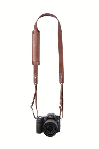 Dutch Skinny Fotostrap | Brown Genuine Leather Camera Shoulder Neck Strap | for Nikon, Canon, Sony, Pentax, Leica, Olympus DSLR, Mirrorless | Best Photographer Gifts | Gives Back
