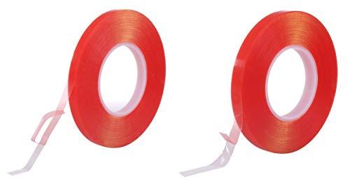 透明 両面テープ セット 幅10mm / 15mm 長さ50m はがせる 超 強力 防水 薄い アクリル 車 屋外