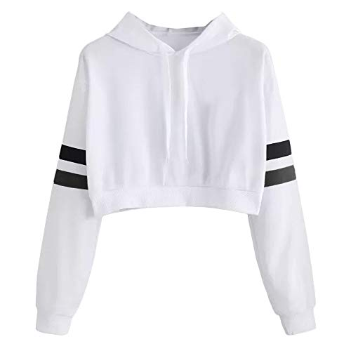 Why Choose HNTDG Womens Casual Solid Color Short Parallel Bars Printed Long Sleeve Hoodie Sweatshirt...