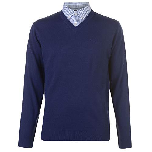 Pierre Cardin - Jersey de punto con cuello en V para hombre azul cobalto M