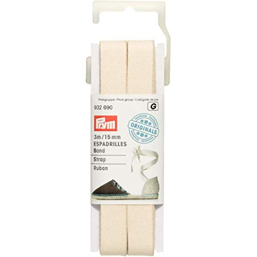 Prym Naturel Wit 15mm Espadrille Band (3mtr), Polyester mengsel, 13,5 x 4,5 x 1,5 cm