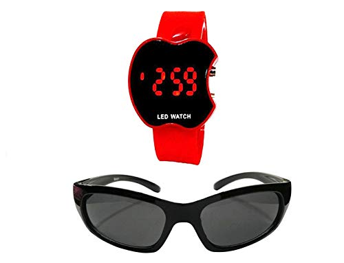 faas Full Eye Protected Black Boy's and Girl's Sunglasses with LED Watch Combo (Age 3-8 Yrs)