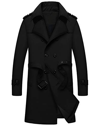 WULFUL Men's Double Breasted Trench Coat Slim Fit Business Mid-Long Jacket with Belt
