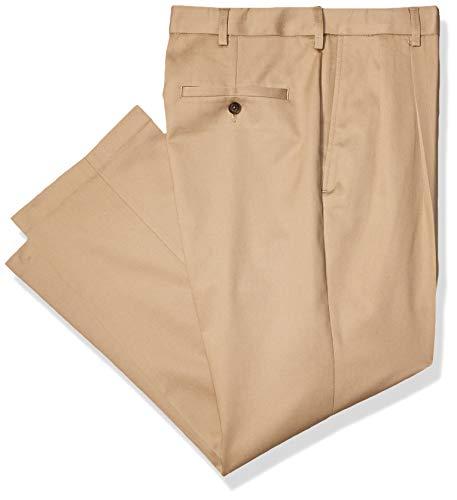 Haggar Men's Premium No-Iron Classic-Fit Expandable-Waist Pleat-Front Pant, Khaki, 34Wx29L