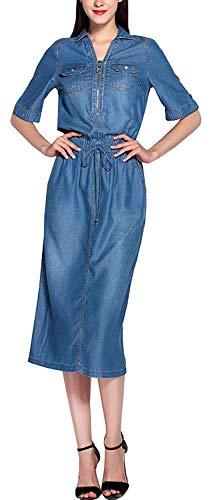 Jeansklänning dam mode elegant vår höst långärmad revers denim klänningar stora storlekar fritid trend streetwear midiklänning klänning