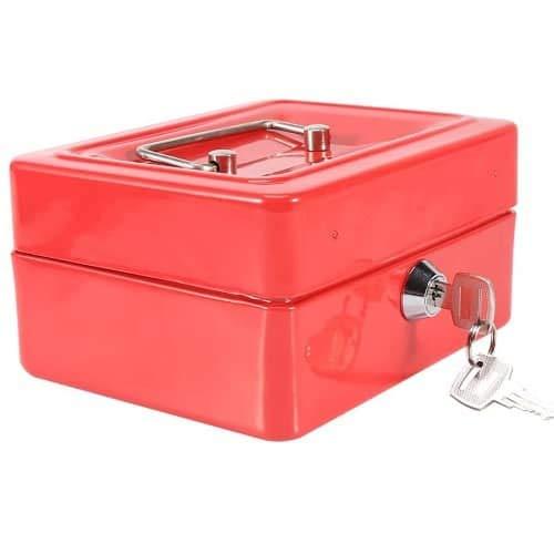 CABLEPELADO Caja fuerte metalica portatil caudales mediana Rojo