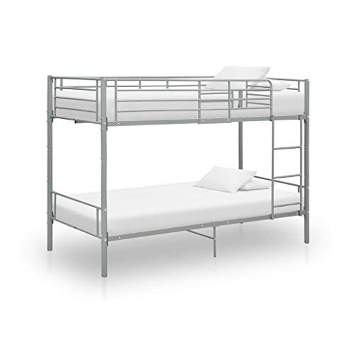 vidaXL Cama Litera Dormitorio Niños Doble Habitación Armazón Completa Niños Adolescente Listones Soporte Interiores de Metal Gris 90x200cm