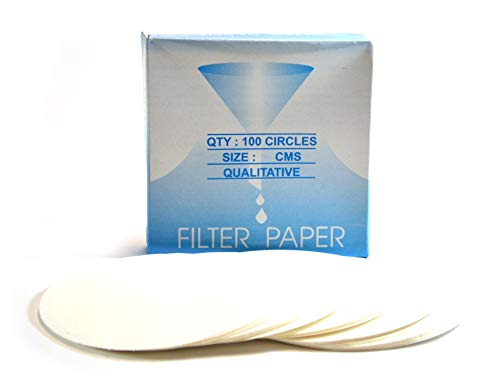 Eisco Labs Premium Qualitative Filter Paper, 12.5cm Dia, Medium Speed (85 GSM), 10? (10 Micron) Pore Size - Pack of 100