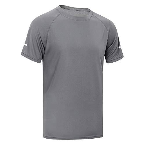 MEETYOO Sportshirt Herren, Laufshirt Kurzarm T Shirts Männer Funktionsshirt Atmungsaktiv Fitnessshirt für Running Jogging Gym (Grau, M)