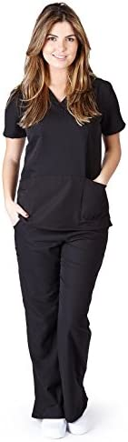 Ultra Soft Scrubs Premium Womens Junior Fit Two Pocket Top and Yoga Pant Scrub Set Black 39194 product image
