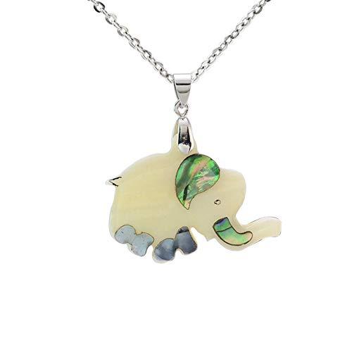 Naswi Mujeres Abulón Concha De Mar Elefante Encanto Colgante Collar Moda Animal Patchwork Joyería