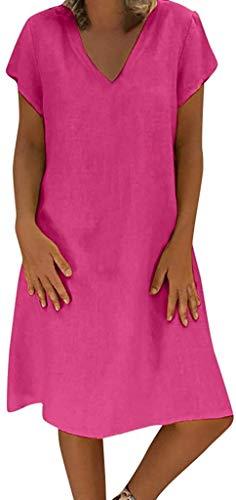 HX fashion Sukienki damskie letnie lniane świąteczne do kolan rozmiary wygodne rozmiary sukienki E damskie rozmiar lato E