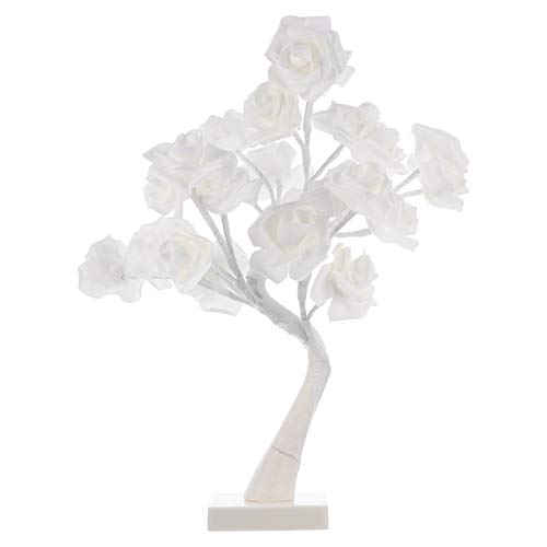 Amosfun LED Rose Tree Light Flower Desk Lamp DIY Artificial Flower Bedside Light for Bedroom Desktop Christmas Party Indoor Decoration White