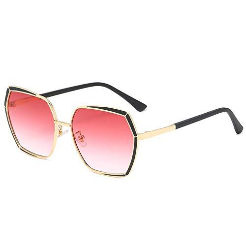 QINGZHOU Gafas de Sol,Gafas de sol Moda Moda Dos tonos Progressive HD PC Lens Gafas de sol de metal para mujer, dorado claro/rosa progresivo