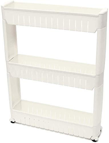 Multipurpose Removable Wheels Rolling Slider Tray Rack Bathroom Storage Rack Refrigerator Slide Out Shelf Side Shelf Fridge Organisers (3 Layers) Plastic Storage Drawer Unit