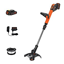 cheap BLACK + DECKER LSTE525 20 V MAX Lithium Trimmer for Simple Wire Feed / Edge Cutter with 2 Batteries