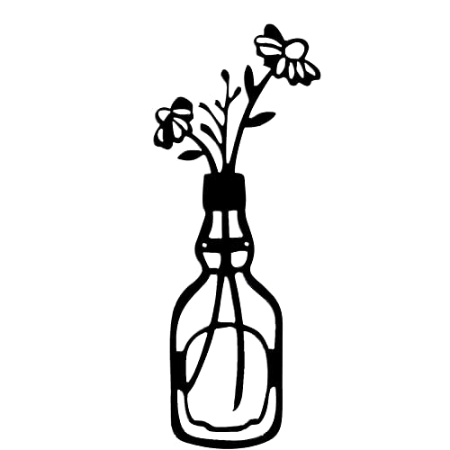 ZXZCHGN Decoración de pared de flores de mariposa de metal, florero de metal flores arte, jarrón arte de pared, minimalismo arte de pared de metal, arte de metal negro rosa florero de flores decoració