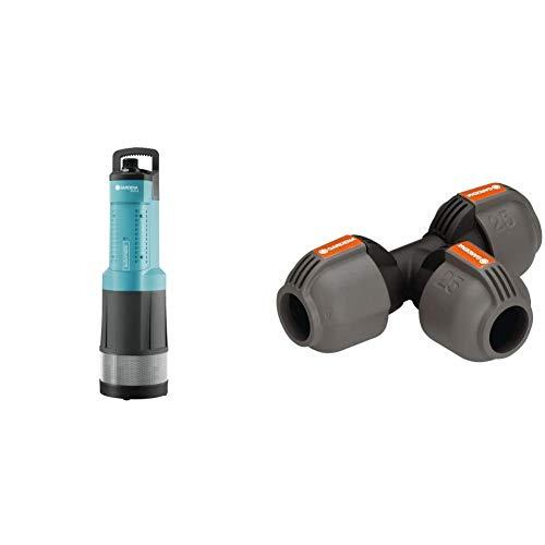 GARDENA Comfort Tauch-Druckpumpe 6000/5 automatic: Tauchpumpe mit 6.000 l/h Fördermenge & Sprinklersystem T-Stück: Rohrverbinder, 25 mm, kompatibel mit GARDENA Verlegerohre 25 mm,