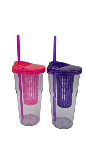 ML Pack 2 Vasos Batidos infusiones plástico sin BPA Tapa y Pajitas...