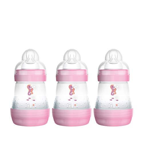 MAM Easy Start Anti-Colic Babyflasche im 3er Set (160 ml) – Milchflasche mit Bodenventil gegen Koliken – Baby Trinkflasche mit Sauger Größe 1, ab der Geburt, rosa