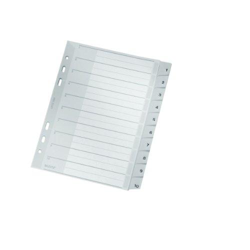 Leitz Register für A5, Deckblatt aus Karton und 10 Trennblätter aus Kunststoff, Taben mit Zahlenaufdruck 1-10, Grau, 12850000
