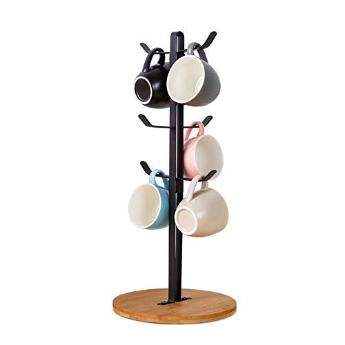 Coffee Cup Holder, Countertop Mugs Stand Tree, Tea Cup Hanger Storage Rack, 6 Hooks with Wooden Bamboo Base for Kitchen Organizer Accessory