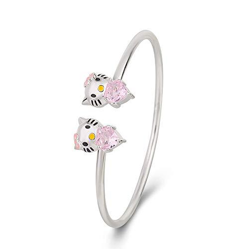 QKL - Pulsera de plata con diseño de Hello Kitty con forma de corazón, color rosa