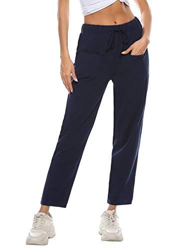 Irevial Pantaloni Tuta Donna Cotone Pantaloni Sportivi da Elastico in Vita con Tasche Pantaloni Jogging Casual Pigiama,per Ginnastica/Fitness/Runnning