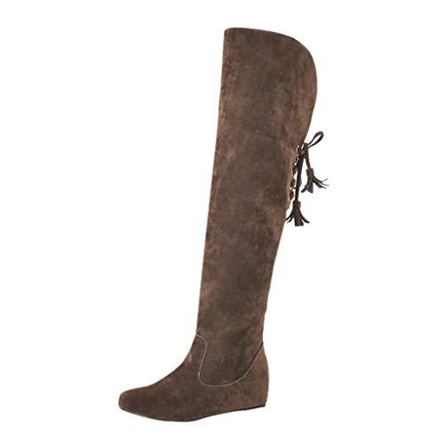 SHE.White Lang Stiefel Damen Overknees Stiefeletten Mode überknie Stiefel Frauen Schnürstiefeletten Erhöht über Elastische Stretch Plateauschuhe Boot
